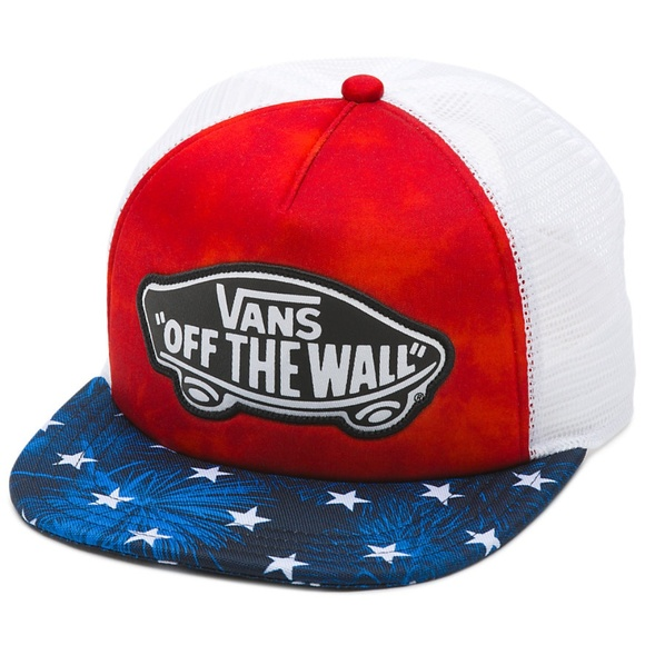 e9745c287e9 New VANS Beach Trucker Hat Cap American Flag